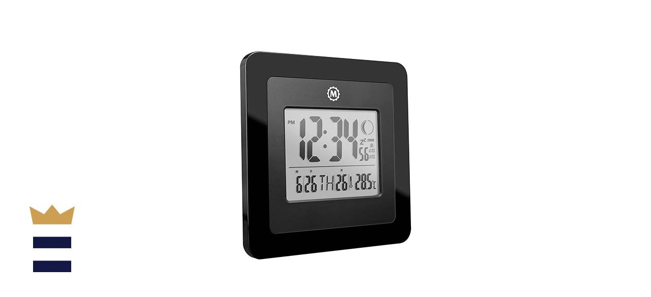 Marathon 5-Inch Digital Wall Clock With Moon Phase, Alarm, Temperature, Date