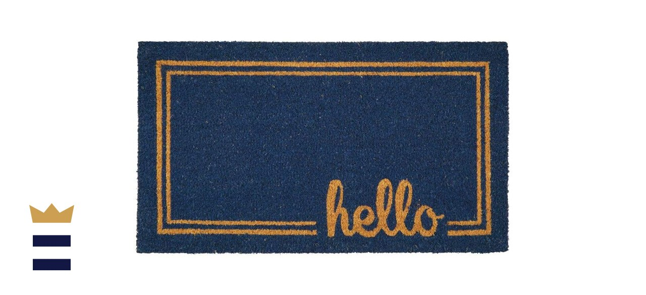 mDesign Rectangular Coir and Rubber Entry Welcome Doormat