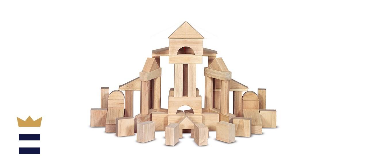 Melissa & Doug Wood Building Blocks With Wood Storage Tray