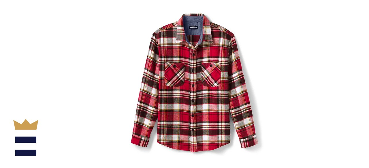 Men's Lands' End Traditional-Fit Rugged Flannel Button-Down Shirt