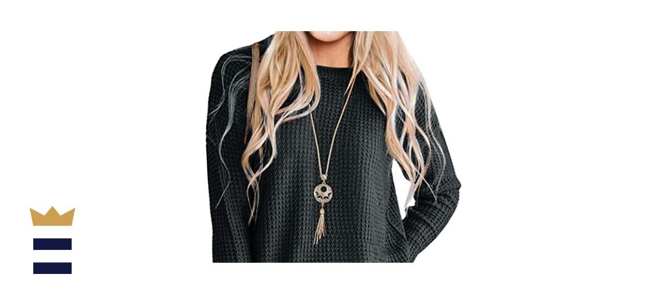 MEROKEETY Women's Long Sleeve Waffle Knit Sweater
