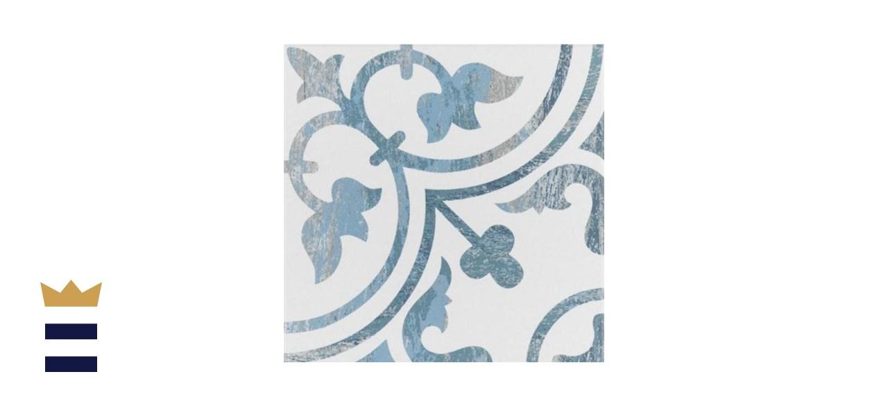 Merola Tile Cassis Arte Blue Porcelain Floor and Wall Tile