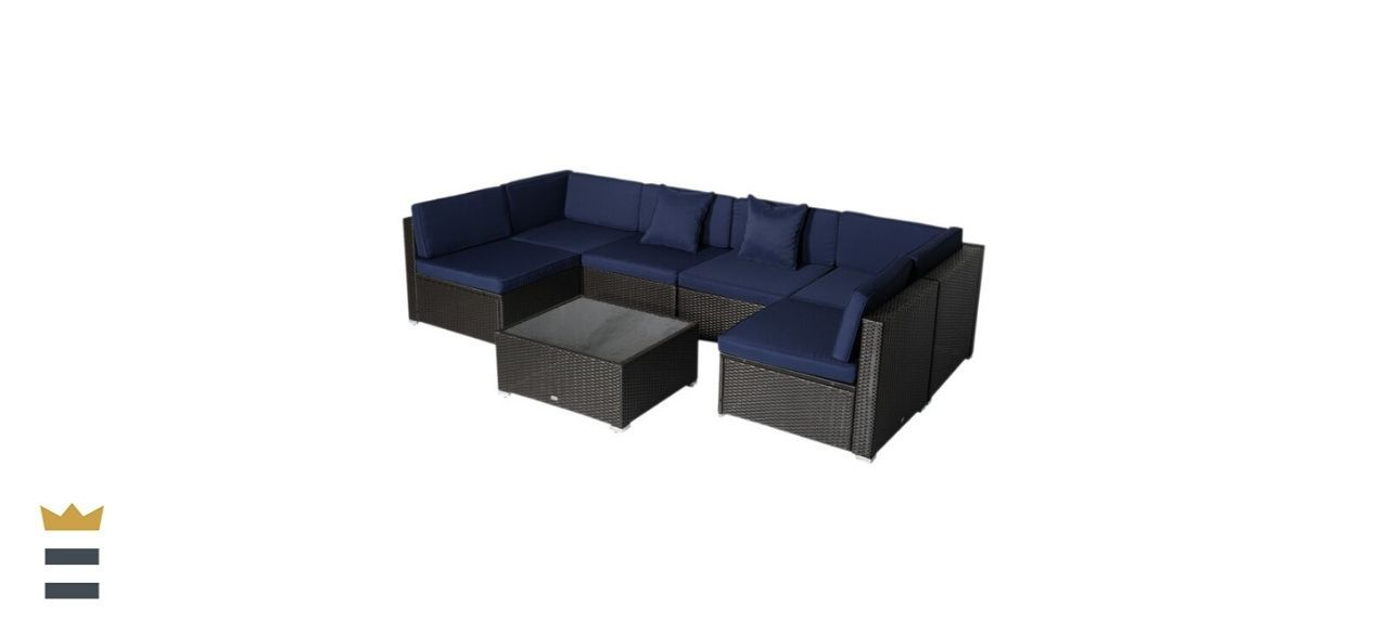Merton 7 Piece Rattan Sectional Seating Group with Cushions