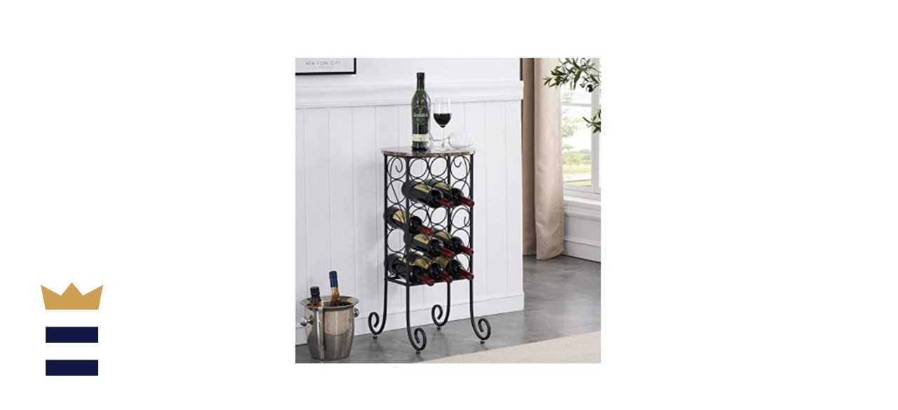 Metal Wine Rack with Faux Marble Top