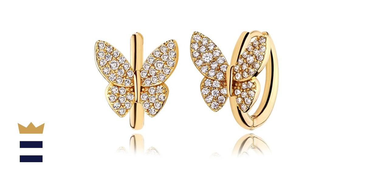 Mevecco 18K Gold Plated Huggie Earrings