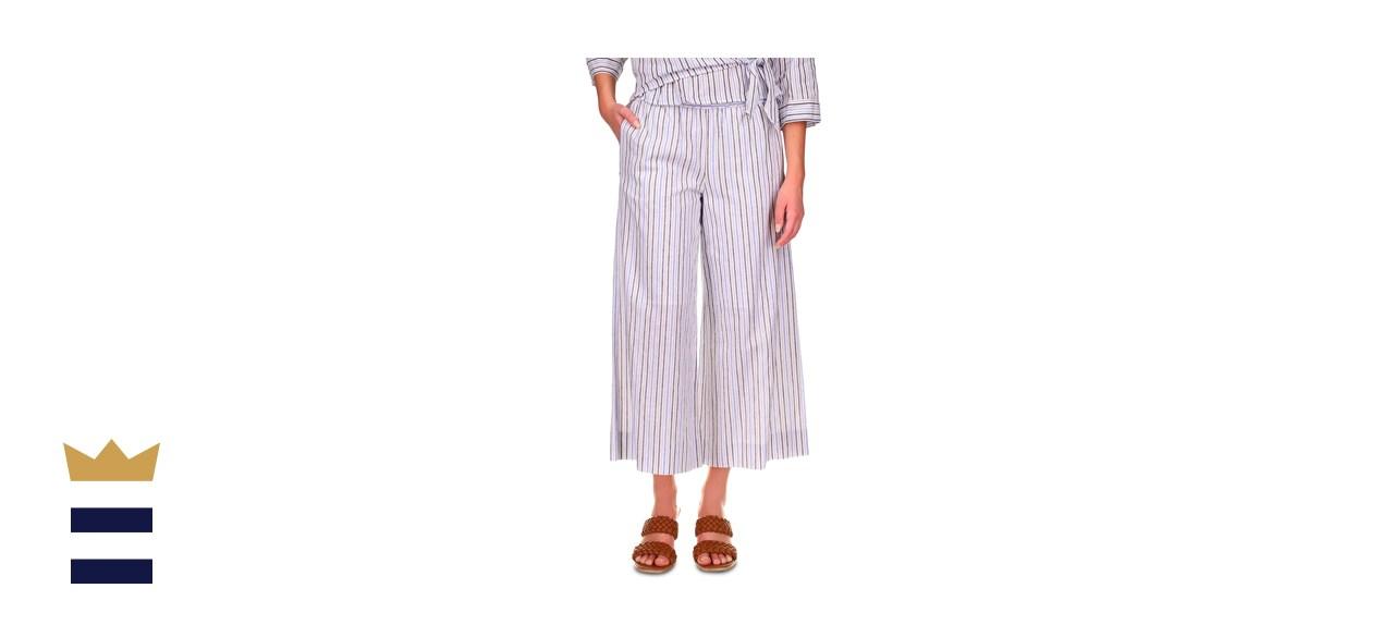 Michael Kors Striped Wide-Leg Pull-On Pants