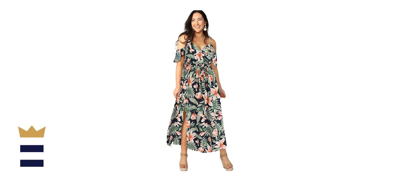 Milumia Plus Size Cold Shoulder Floral Maxi Bohemian Split Dress