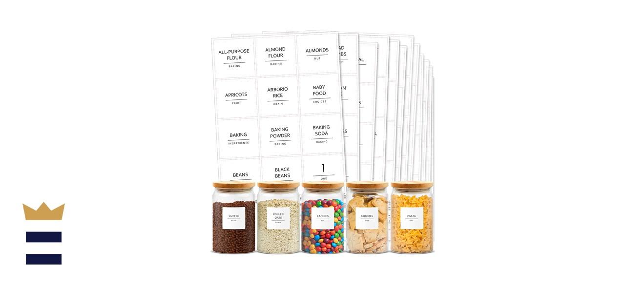 Minimalist Vinyl Pantry Labels Set on White Matte Backing