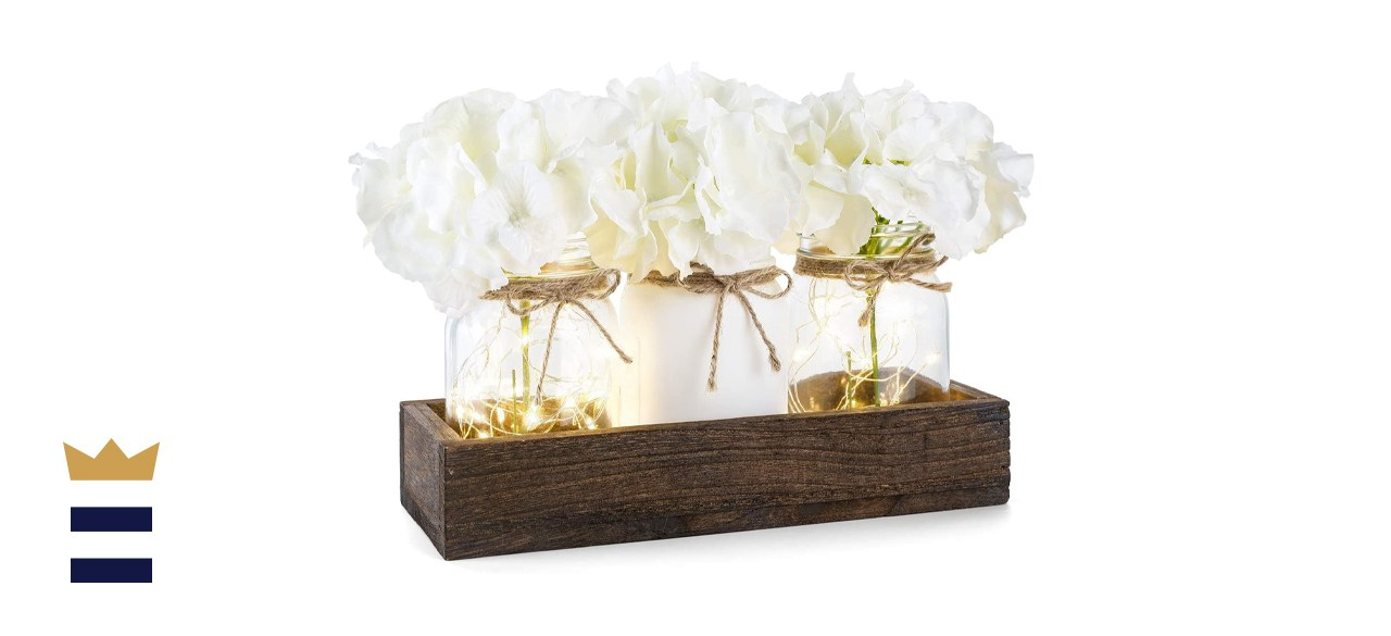 Mkono Lighted Floral Mason Jar Centerpiece Decorative Wood Tray with 3 Painted Jars