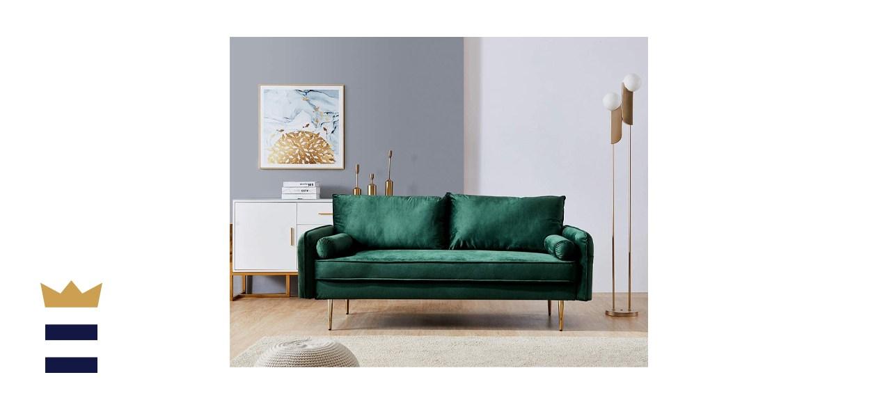 Modern Velvet Loveseat in Green