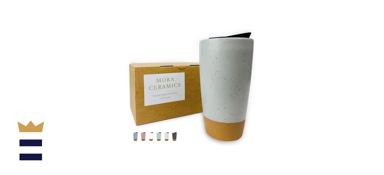 Mora Double Wall Ceramic Coffee Travel Mug