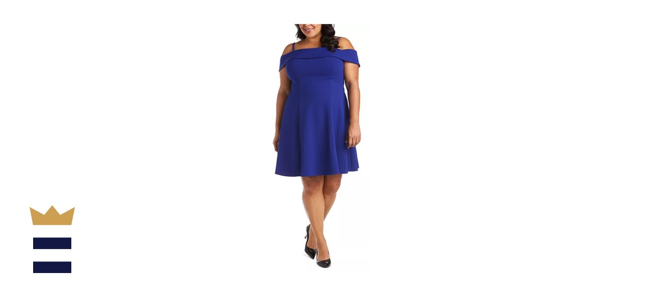 Morgan & Company Trendy Plus-Size Off-The-Shoulder Fit & Flare Dress