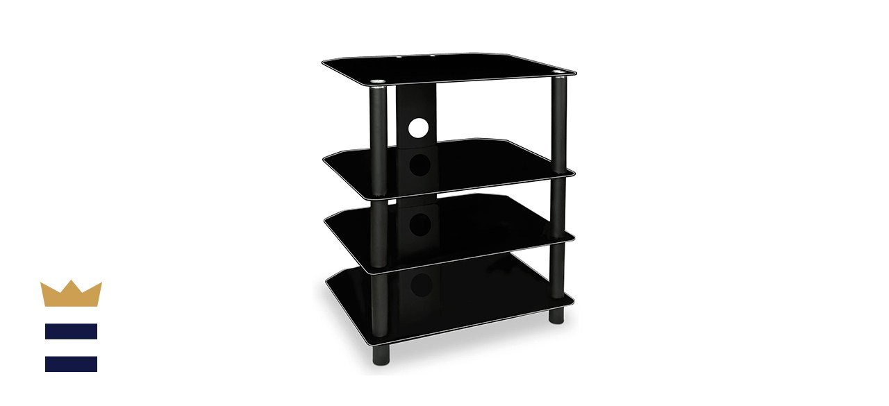 Mount-It! AV Component Media Stand and Audio Tower with Four Shelves and Cable Holes