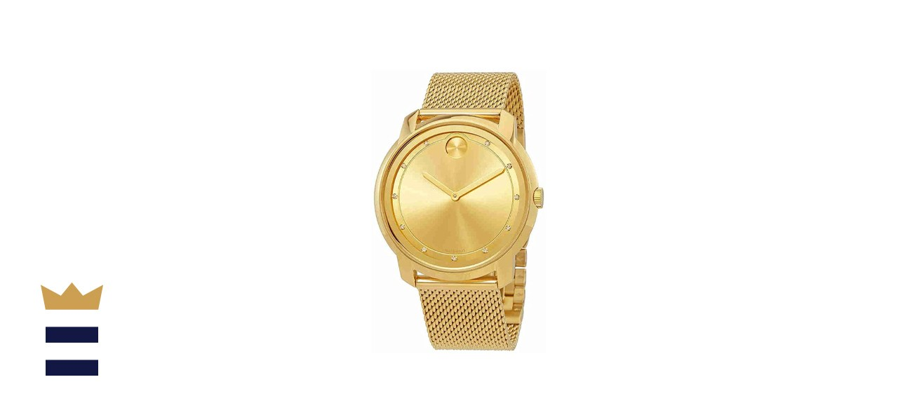 Movado Bold Large Diamond and Gold Plated Mesh Watch
