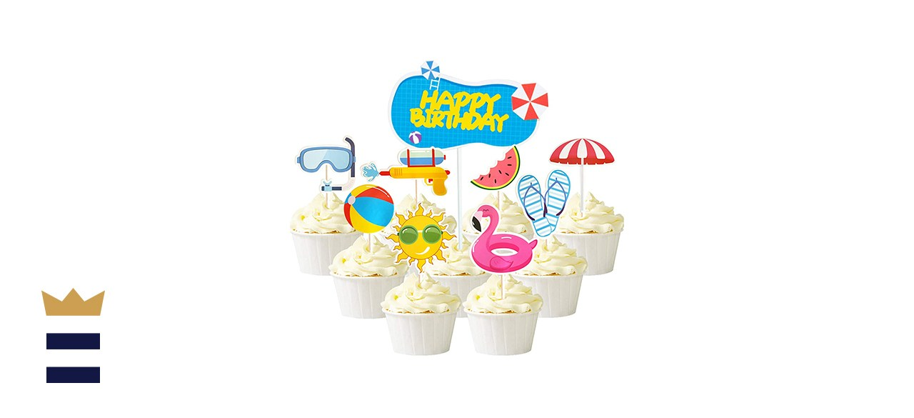 Mulukaya 25Pcs Summer Pool Theme Beach Ball Sun Umbrella Slippers Water Gun Goggles Cupcake Toppers