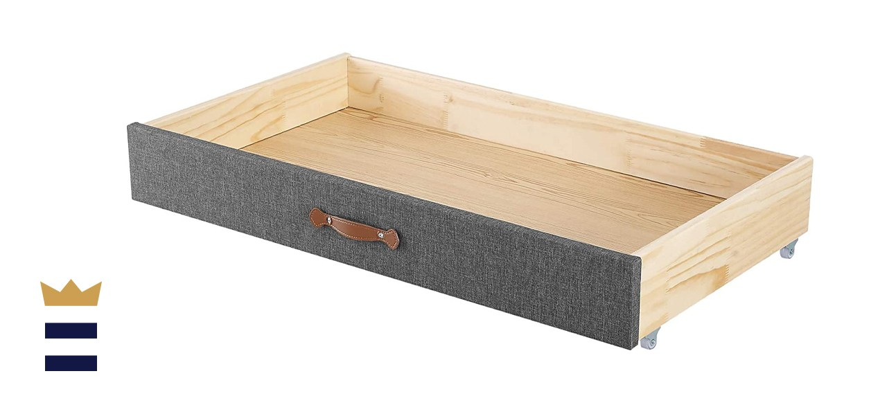 MUSEHOMEINC Upholstered Solid Wood Under Bed Storage Drawer