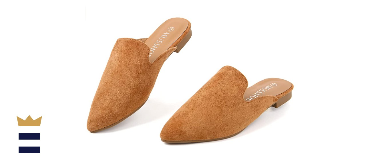 MUSSHOE Mules for Women Slip On Comfortable Pointed Toe Womens Loafers Women's Flats for Women's Mules & Clogs