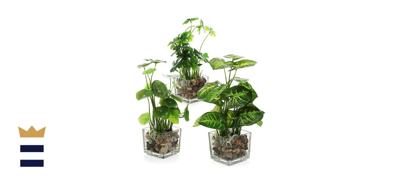 MyGift Artificial Plants With Clear Glass Pots