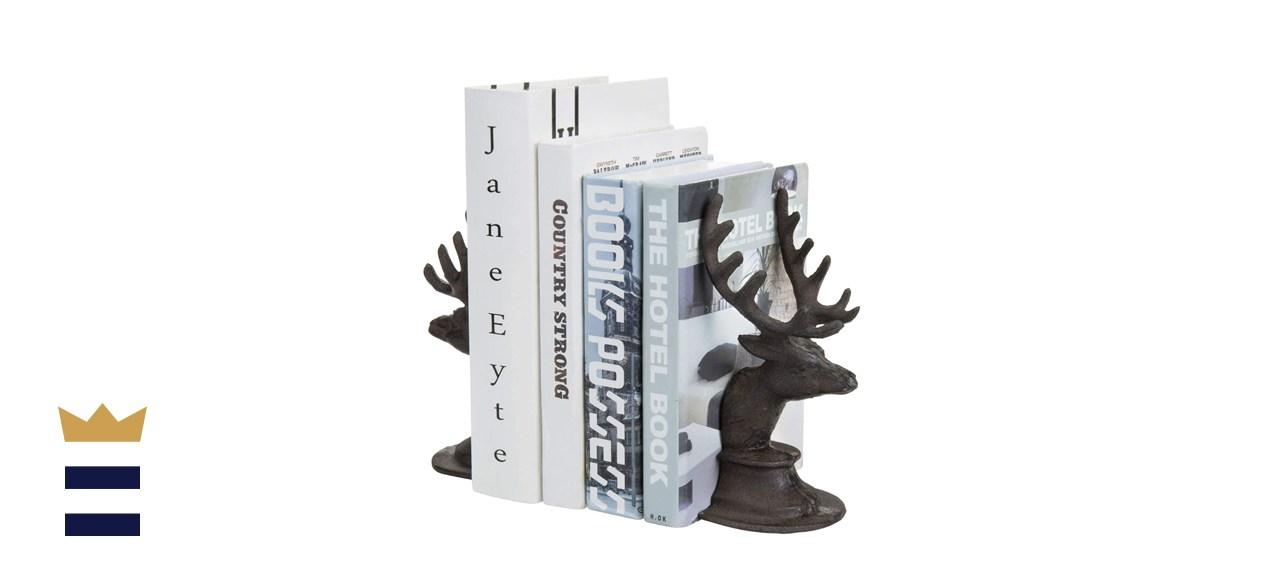 MyGift Dark Brown Vintage Cast Iron Elk Head & Antlers Bookends