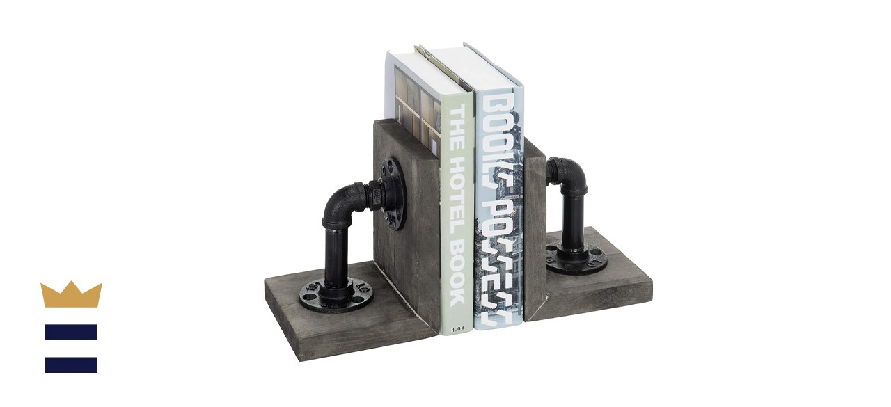 MyGift Industrial Pipe & Gray Wood 6-Inch Metal Bookends