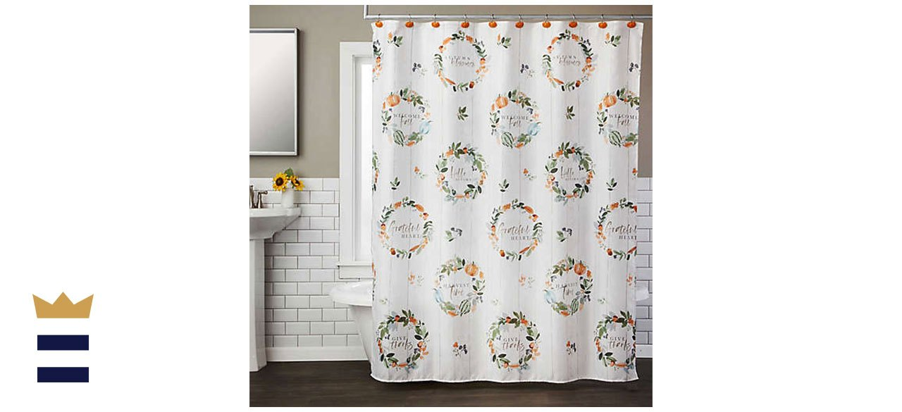 Nature's Harvest 70-Inch x 72-Inch Shower Curtain with Hooks Set