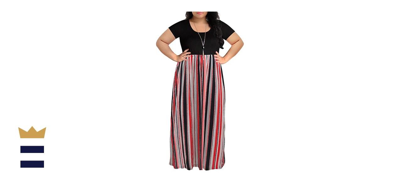 Nemidor Chevron Print Short-Sleeve Plus-Size Maxi Dress