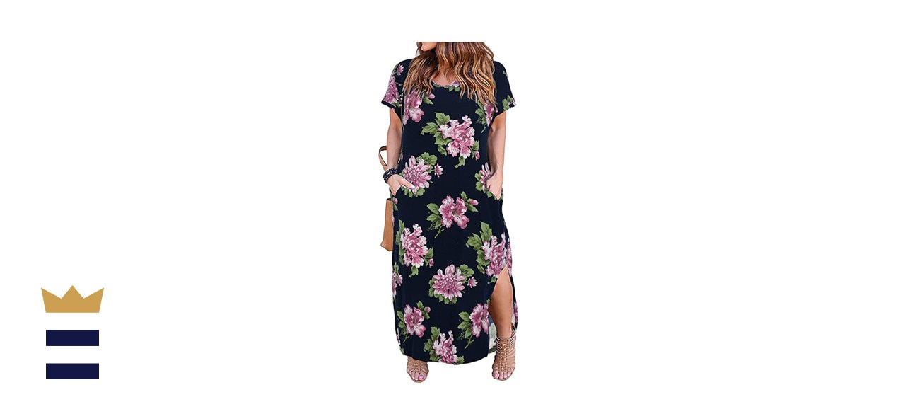 Nemidor Plus-Size Loose Maxi Slit Dress