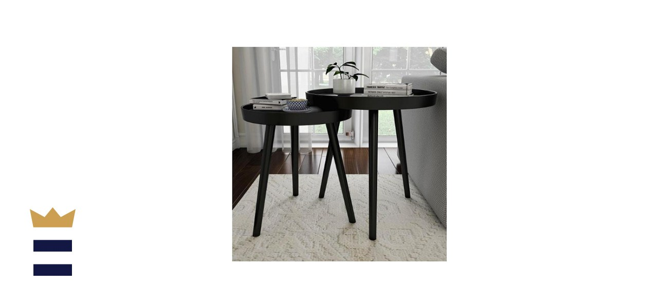 Wooden Nesting Round Tray Top Matte Black Side Tables