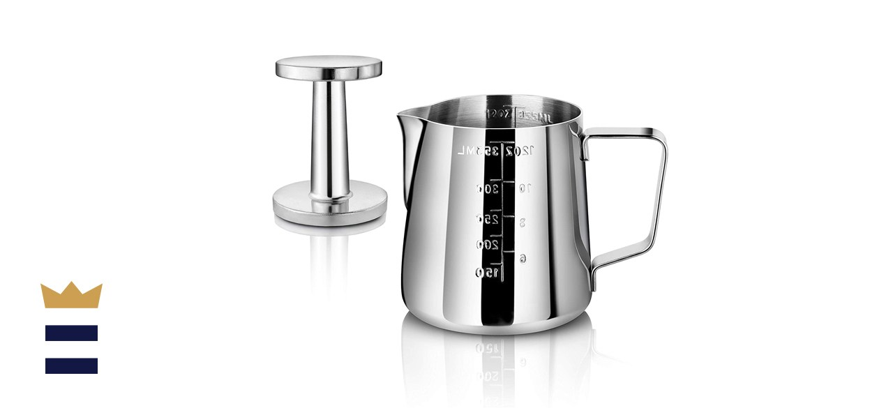New Star Foodservice Frothing Pitcher and Tamper Set