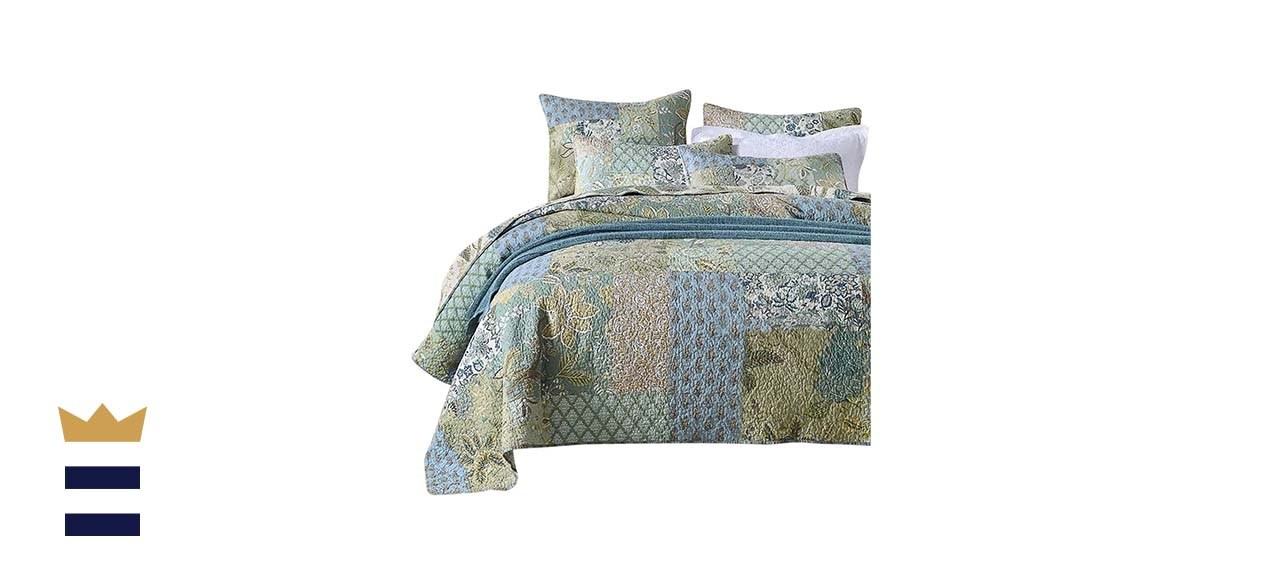 NEWLAKE Quilt Set with Real Stitched Embroidery