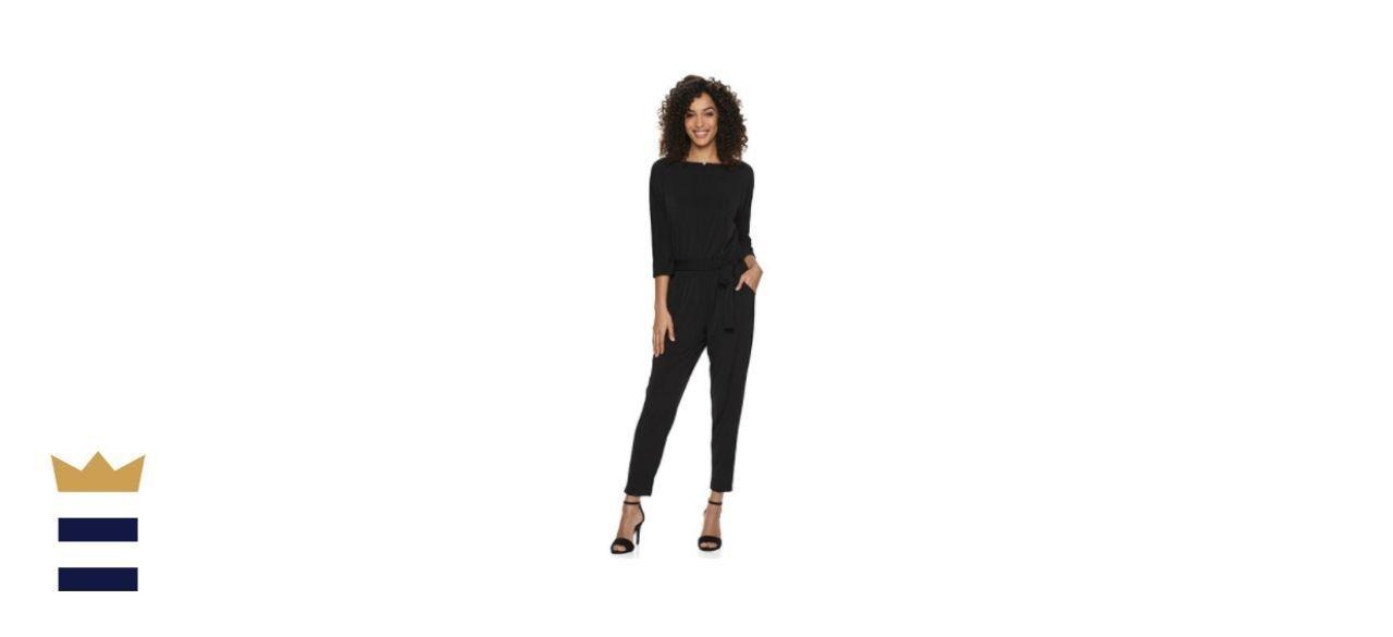 Nina Leonard Solid Ankle Jumpsuit