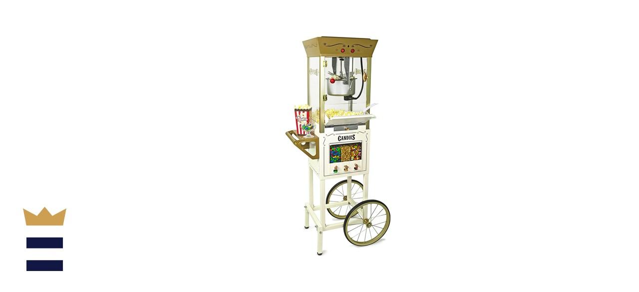 Nostalgia Ivory Popcorn Machine with Cart and Snack Dispenser