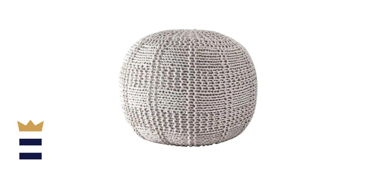 NuLOOM Berlin Casual Knitted Fitted Ottoman Ivory Round Pouf