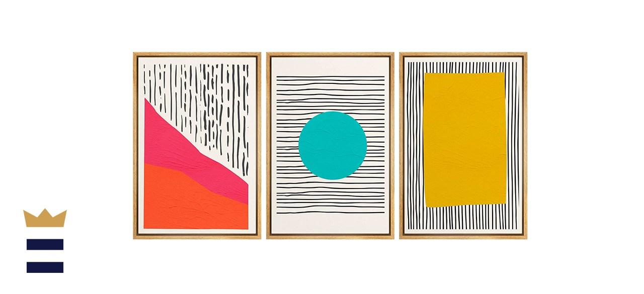 NWT Abstract Framed Wall Art Print Set