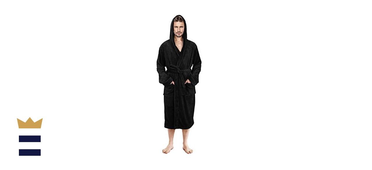 NY Threads Men's Hooded Fleece Robe