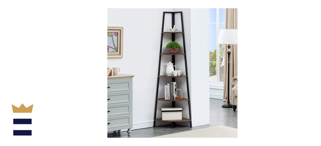 O&K FURNITURE 5-Shelf Corner Etagere Bookcase