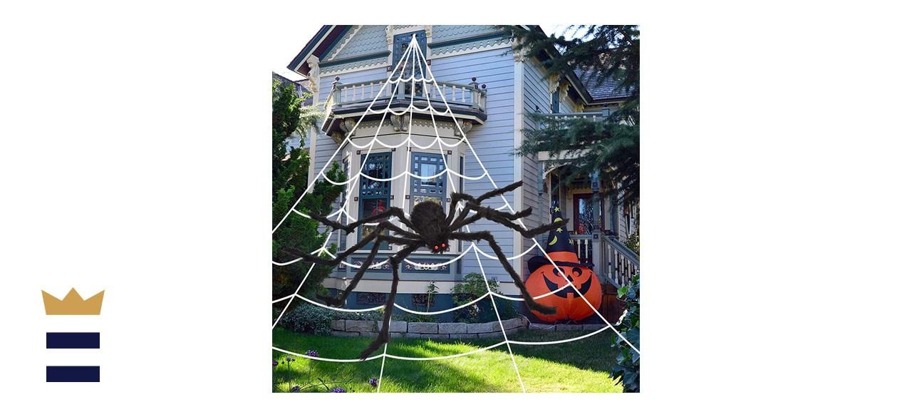 OCATO Halloween Spider Web + Giant Spider Decoration