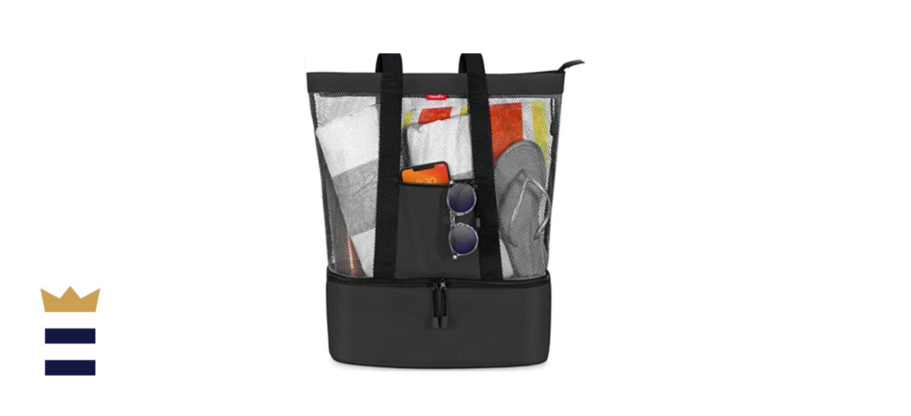 OdyseaCo Mesh Beach Bag Tote with Insulated Cooler