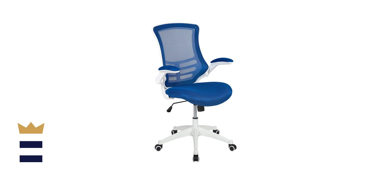 Flash Furniture Mid-Back Blue Mesh Swivel Ergonomic Task Office Chair with White Frame and Flip-Up Arms