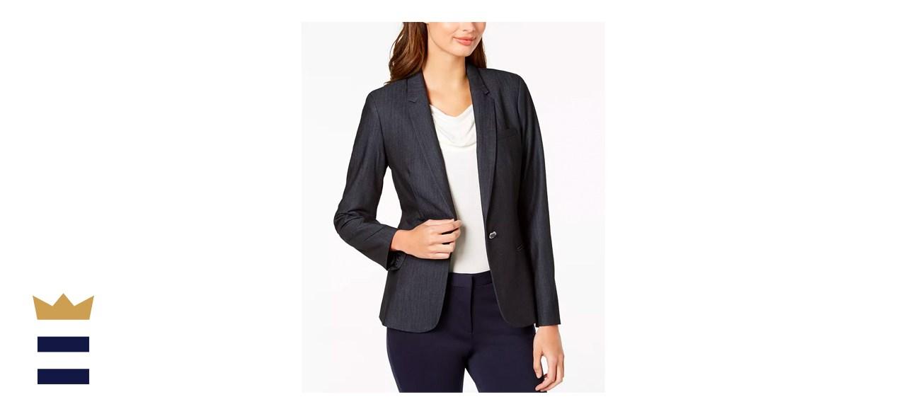 one-button Calvin Klein blazer