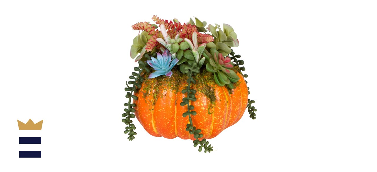 One Holiday Way Orange Faux Pumpkin with Succulents Fall Table Decoration
