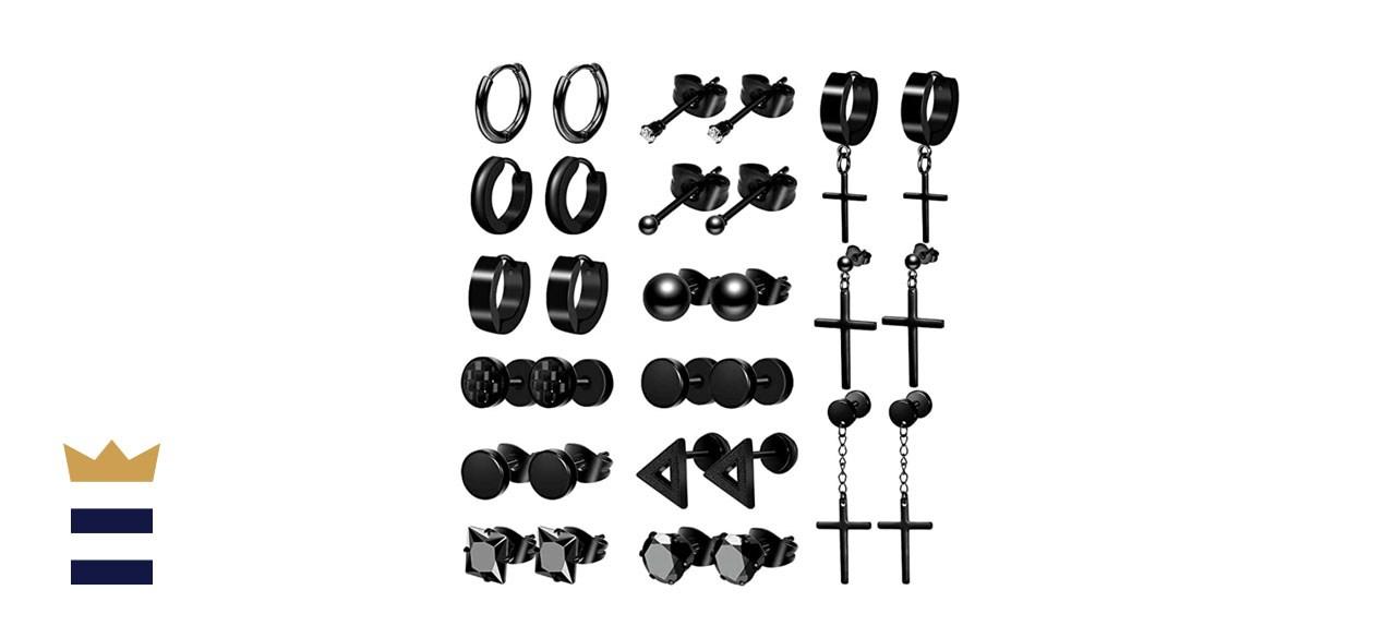 ONESING Stainless Steel Black Earrings Set