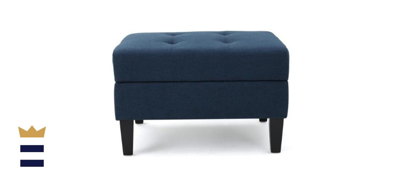 Zahra Dark Blue Fabric Storage Ottoman