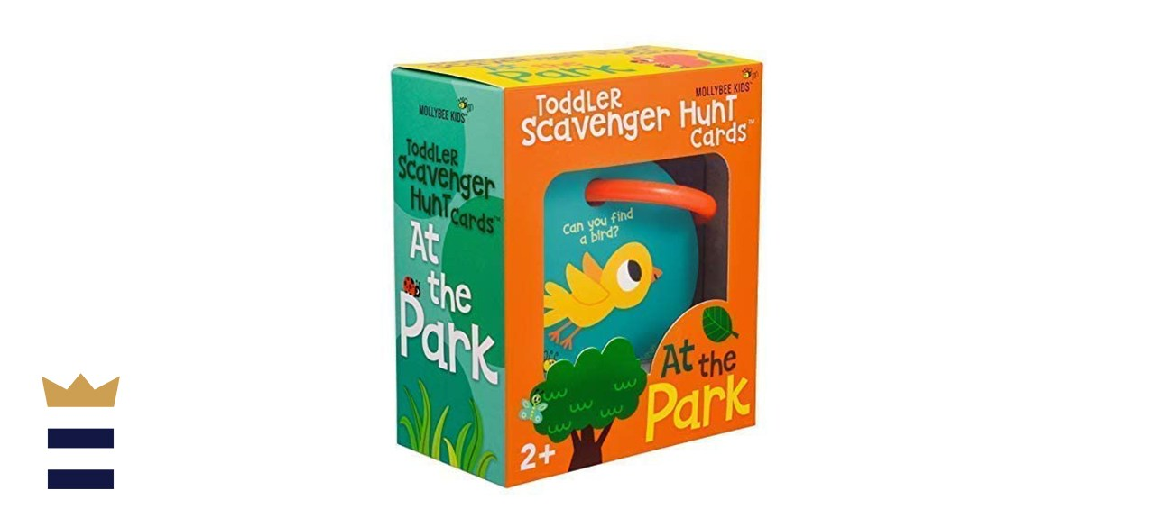 Outdoor Toddler Hunting Cooperative Card Game in Park