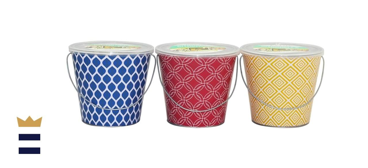 Patio Essentials 18 Oz. Printed Bucket Citronella Candle