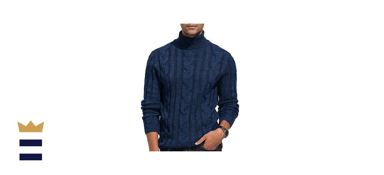 PJ Paul Jones Casual Cable Knit Turtleneck Sweater