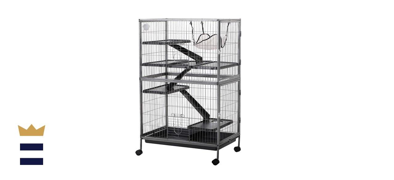 "PawHut 50"" H 4 Tier Steel Plastic Small Animal Pet Cage Kit"