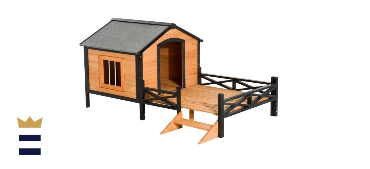PawHut Wooden Cabin Dog House With Porch