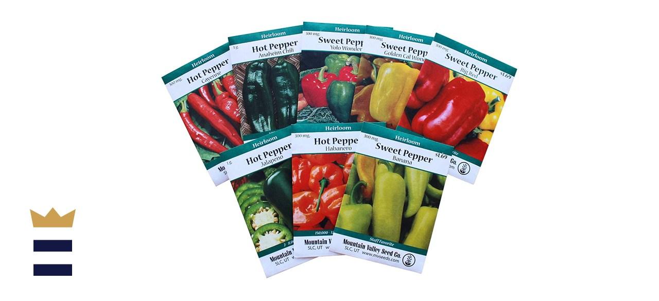 8-Pack Non-GMO Heirloom Sweet Pepper Seeds & Hot Pepper Seeds