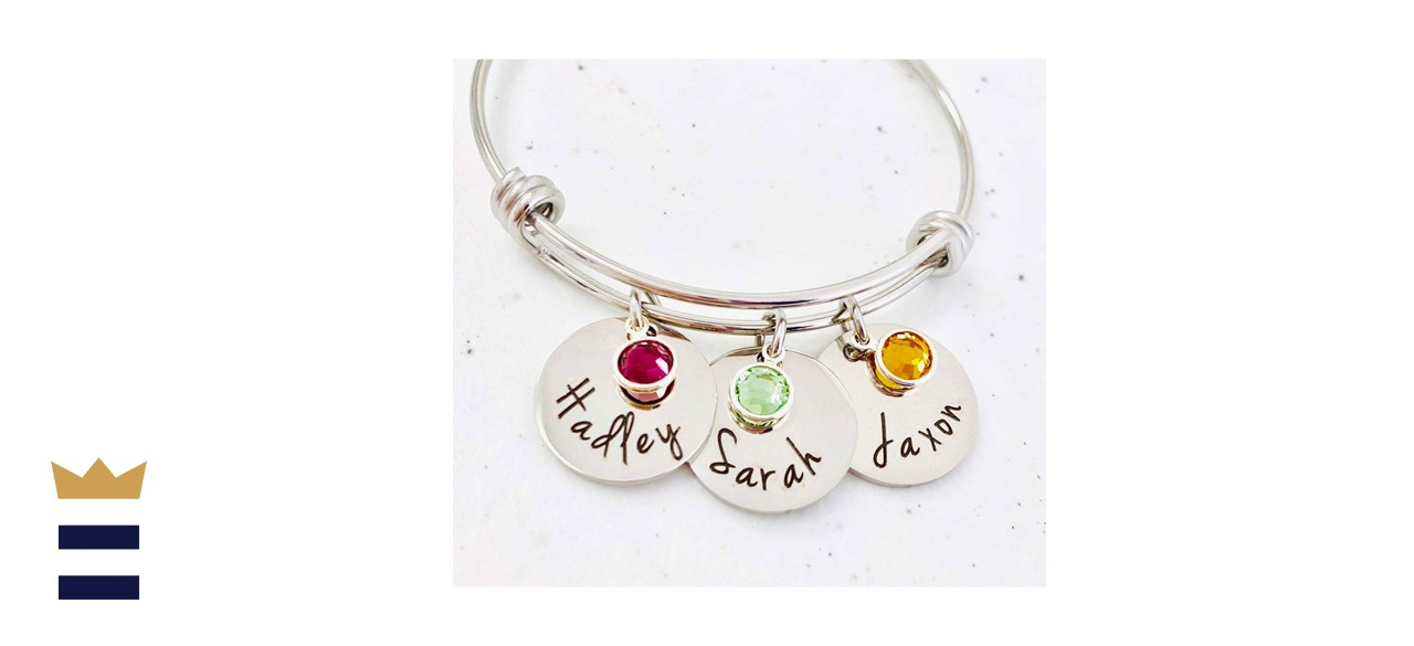 Personalized Bangle Bracelet with Birthstone and Names